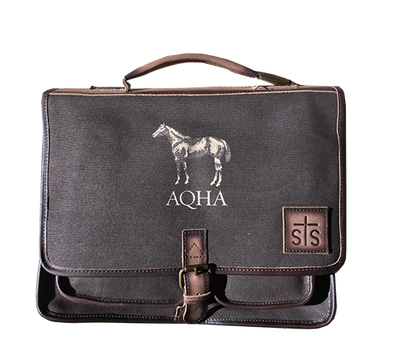 AQHA Dark Brown Canvas Formans Portfolio Leather Trim