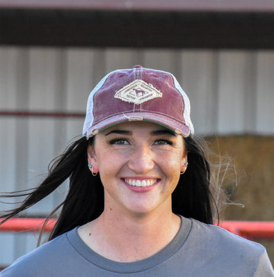 AQHA Distressed Maroon Diamond Cap