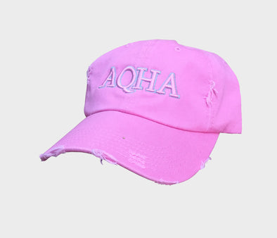 PINK/GREY AQHA DISTRESSED CAP