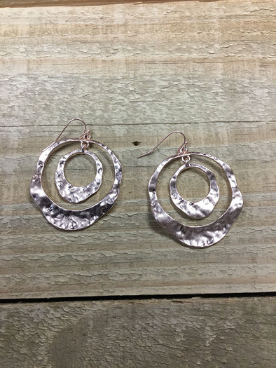Rustic Double Circle Dangle Rose Earrings