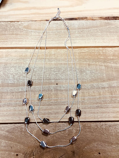 Rose, Silver, Grey Stone 3 Layer Necklace