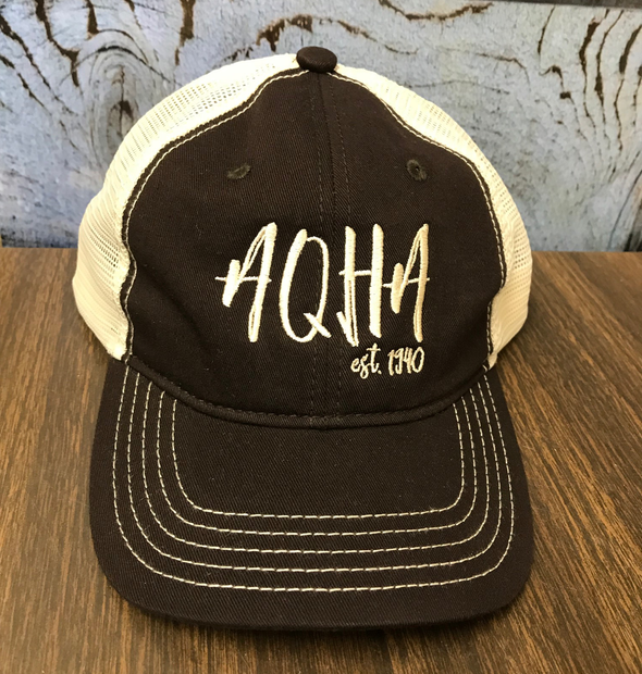 Stretched AQHA Tan & Brown Mesh Cap