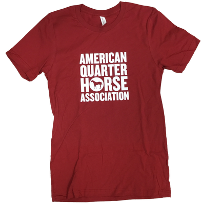 White Block Stacked AQHA Canvas Red Tee