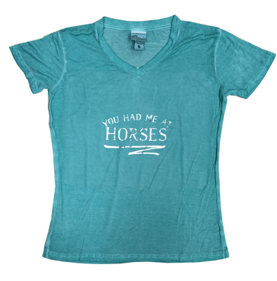 Silver You Had Me At Horses Squiggle Women's V-Neck Spearmint Tee