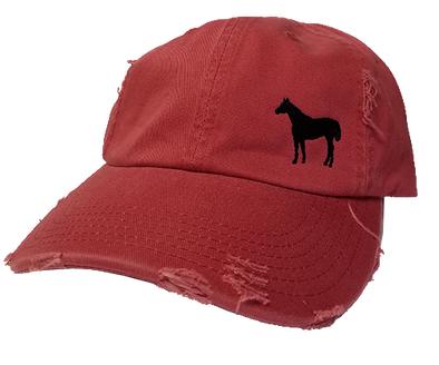 Standing Horse Red Distressed Cap