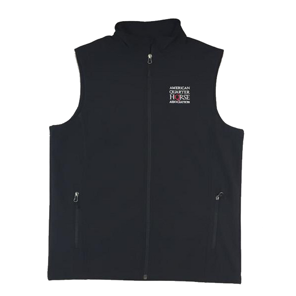 AQHA Black Soft Shell Vest Stacked Logo