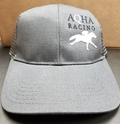 AQHA white horse and Q Racing Grey Mesh Cap
