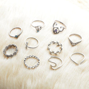 10 Pieces Bohemian Crystal Midi Rings For Women - Fashion Arks