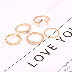 5 Pieces Crystal  Adjustable Ring Set - Fashion Arks