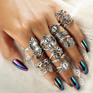 Adele 16 Pcs Silver Rings - Fashion Arks