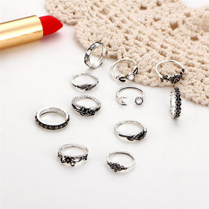 11 Pieces Antique Moon, Leaf, Flower Rings - Fashion Arks