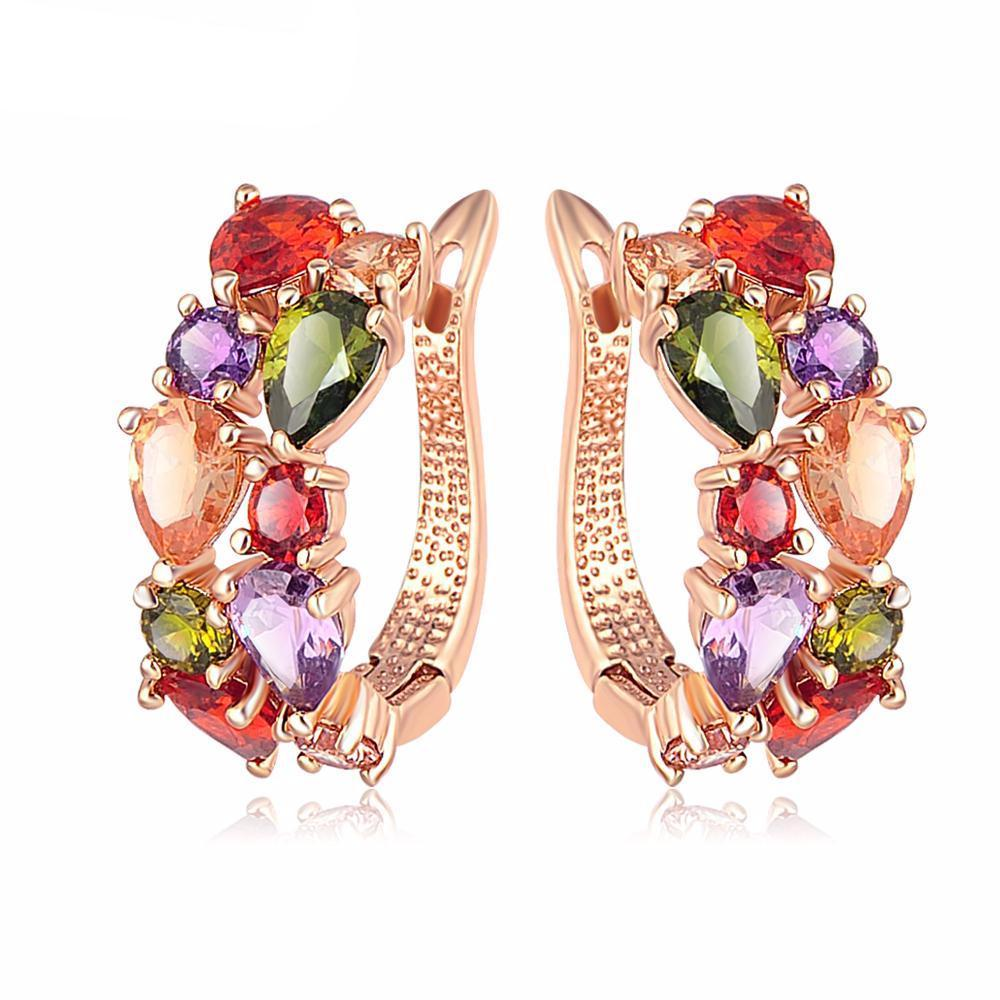 Multi-color Cubic Zircon Stud Earrings - Fashion Arks