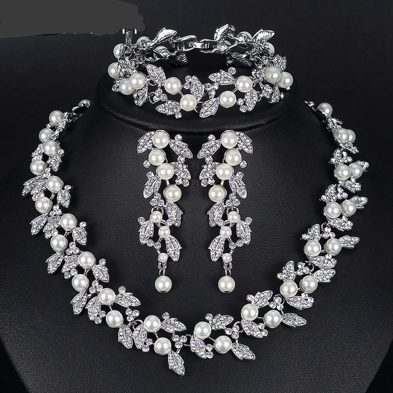 Simulated Pearl Bridal Jewelry Necklace For Women - Fashion Arks