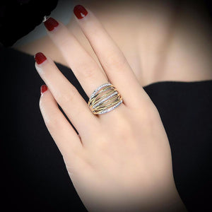 Women Crystal Gold and White Color Ring - Fashion Arks