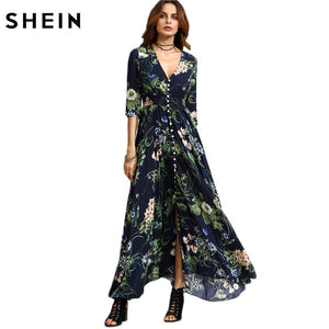 SHEIN Long Floral Maxi Dress Boho Long Dress Elegant Beach Navy Floral Print Half Sleeve Button Front A Line Shirt Dress - Fashion Arks