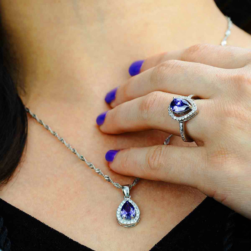 Azure - CZ 925 Sterling Silver Set - Fashion Arks