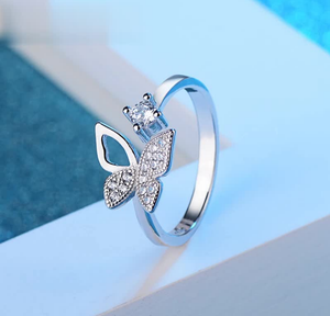 """FLY"" Crystal Adjustable Ring - Fashion Arks"