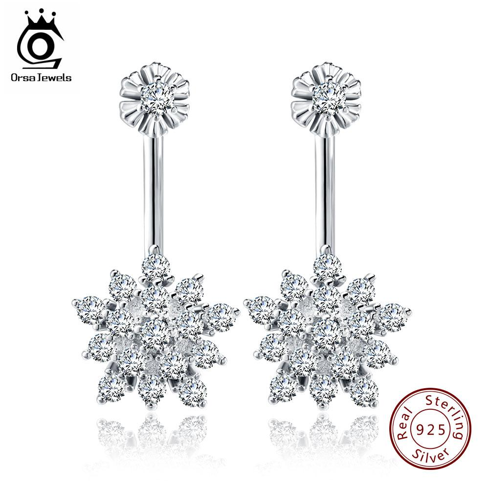 ORSA JEWELS Cute Crystal Flower 925 Silver Stud Earring for Women Sterling Silver Charm CZ  Snow Earrings 2017 New Style SE03 - Fashion Arks