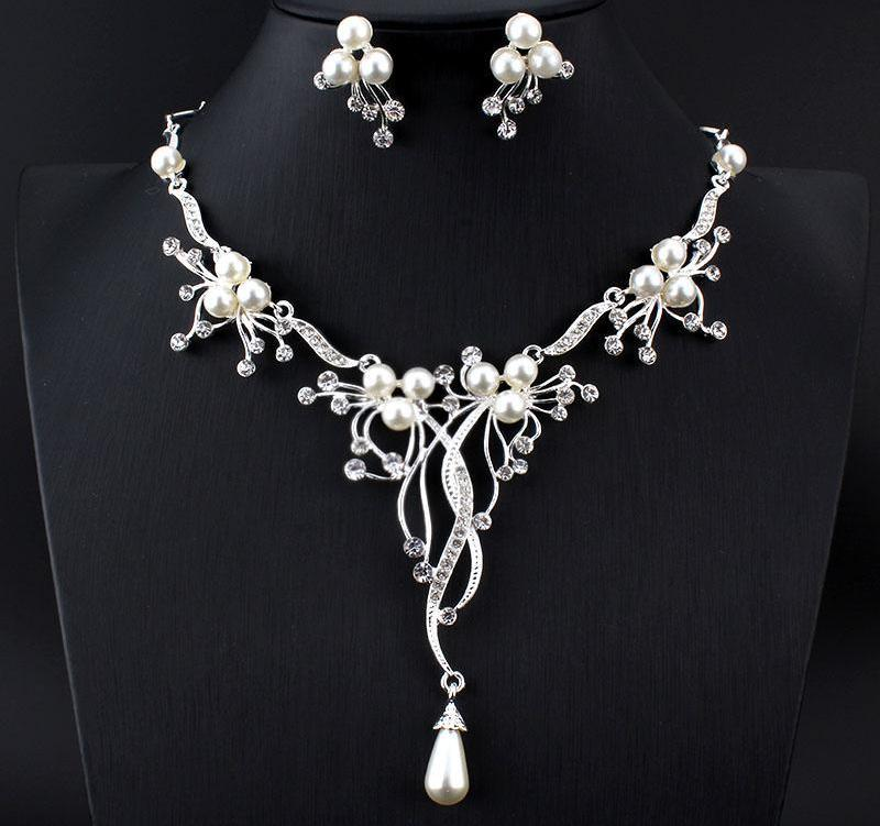 Imitation Pearls Bridal Jewelry Sets for Women