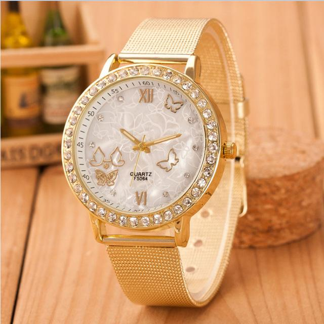Creative Watch Women Fashion Ladies Crystal Butterfly Gold plated Mesh Band Wrist Watches Girl luxury Casual Quartz Watch - Fashion Arks