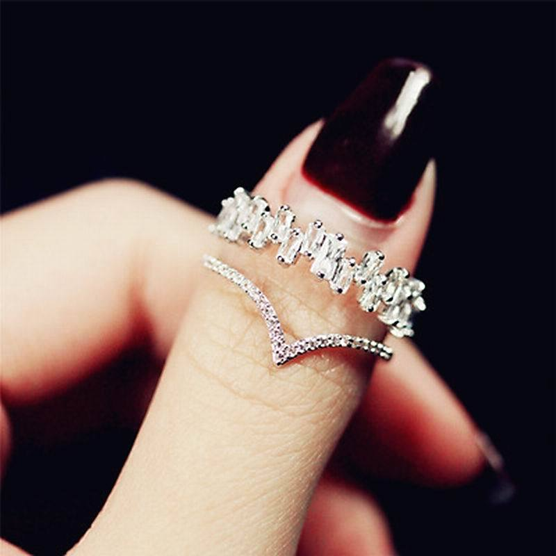 Trendy Shinning Zircon Double Ring - Fashion Arks