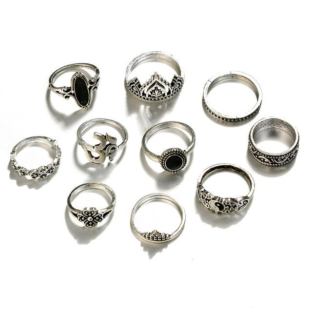 10 Pcs / Opal Stone Antique Silver Ring Set - Fashion Arks
