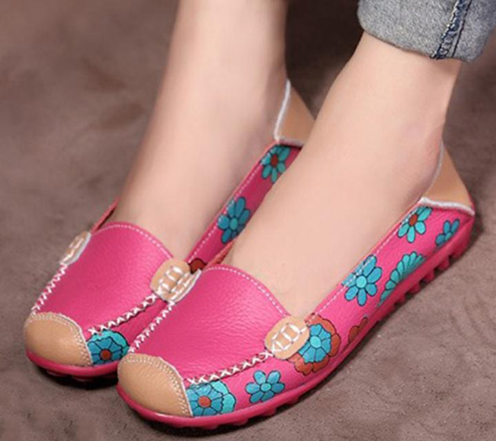 Rose - Flower Print Genuine Leather Shoes - Fashion Arks