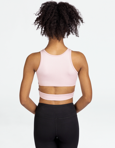 womens pink workout crop top