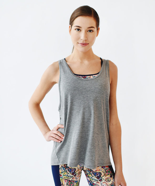 Grey Oversized Drape Back Tank