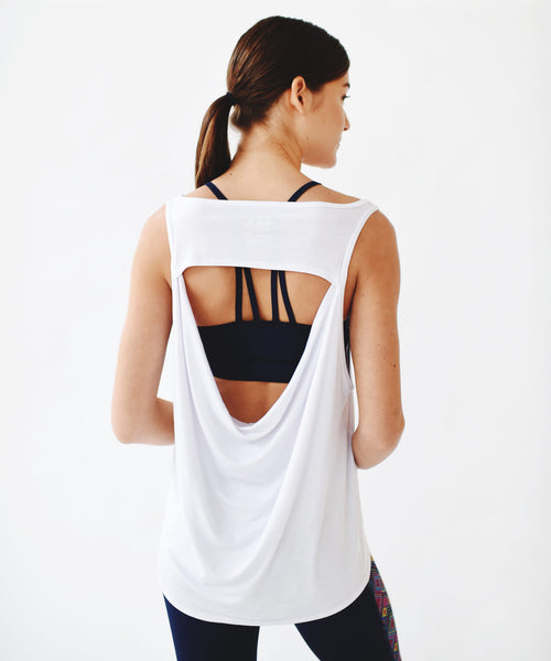 White Oversized Drape Back Tank