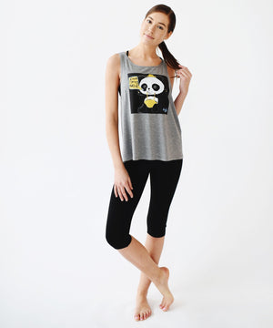 Yoga Democracy Tops Graffiti Panda Twisted Back Tank - Available in 2 Colors