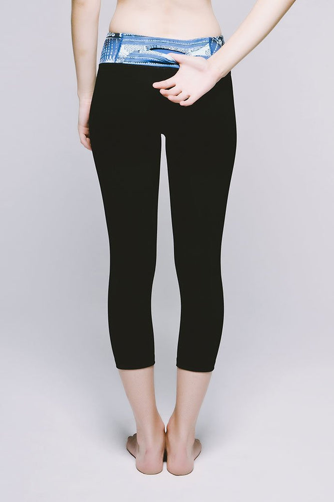 Joriki Yoga Essential Cropped Legging - Cool Cirebon/Jet Black Leggings