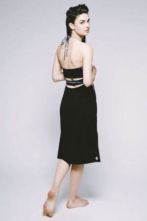 Joriki Yoga Wrap-Style Halter Dress - Cool Cirebon/Jet Black Women's Dresses
