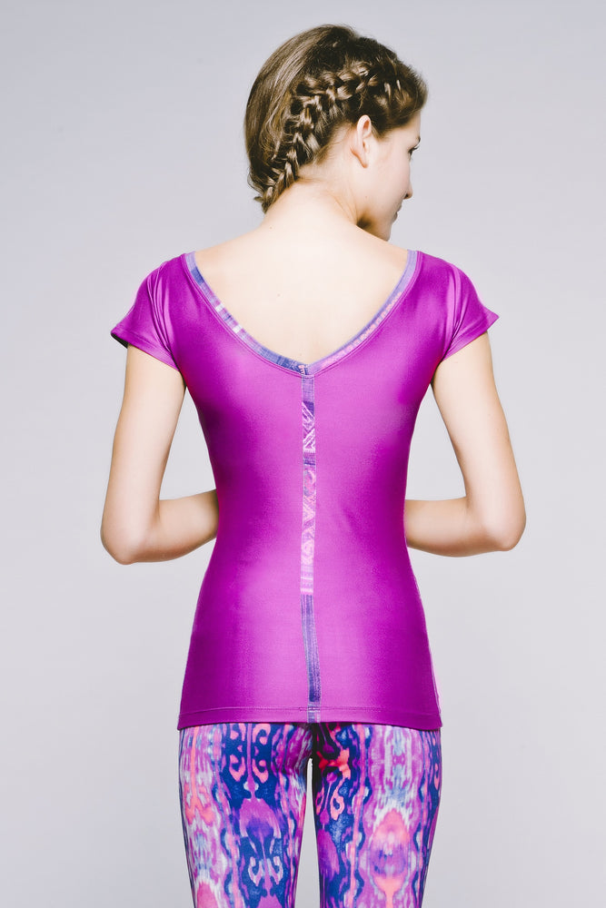 Joriki Yoga Off-the-Shoulder Tee - Vibrant Electric Orchid Tops