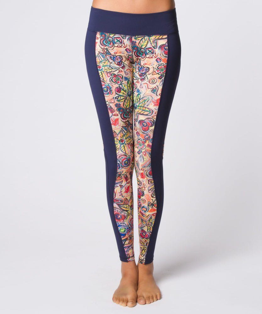 Joriki Yoga Abstract Floral Navy Wrap Legging Leggings
