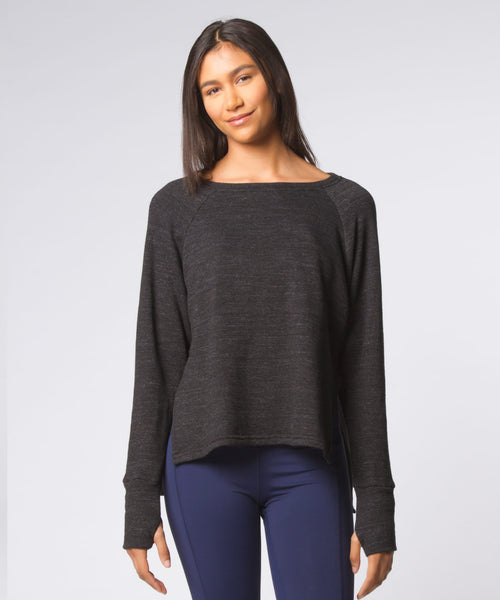 Charcoal Heather Solid Side Slash Sweatshirt