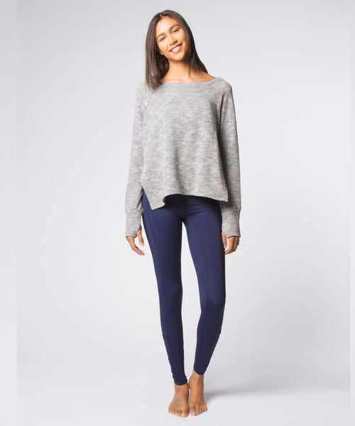 Heather Grey Solid Side Slash Sweatshirt