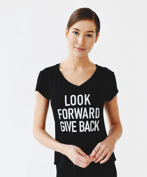 Joriki Yoga Give Back Mantra Tee in Black Women's Tee