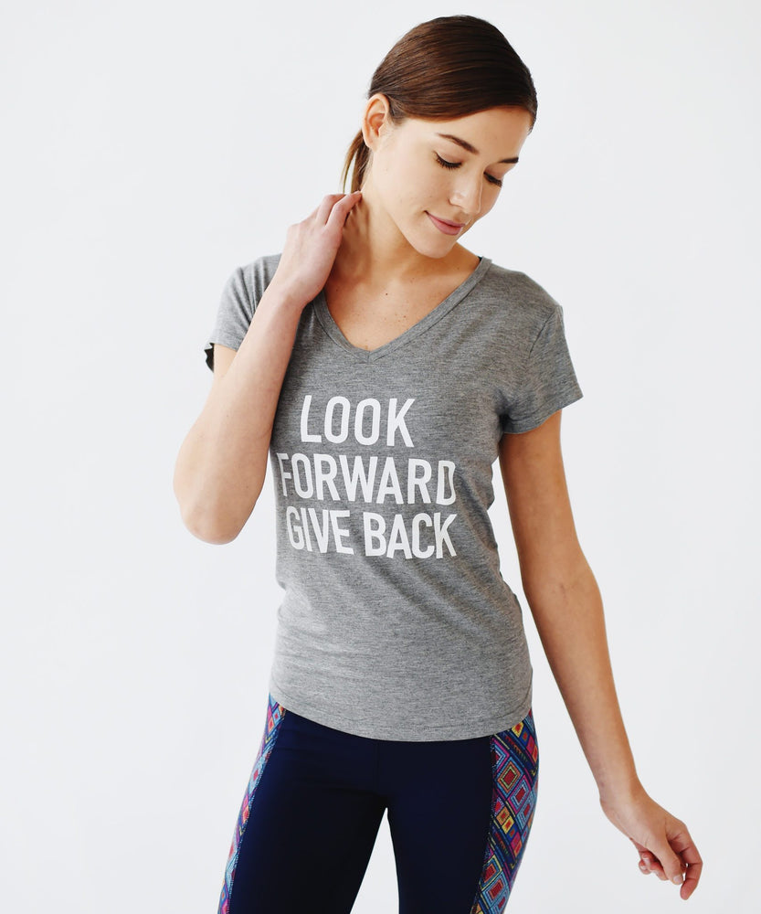 Joriki Yoga Give Back Mantra Tee in Grey Graphic Top