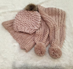 Rose Gold Knit Hat with Pompom
