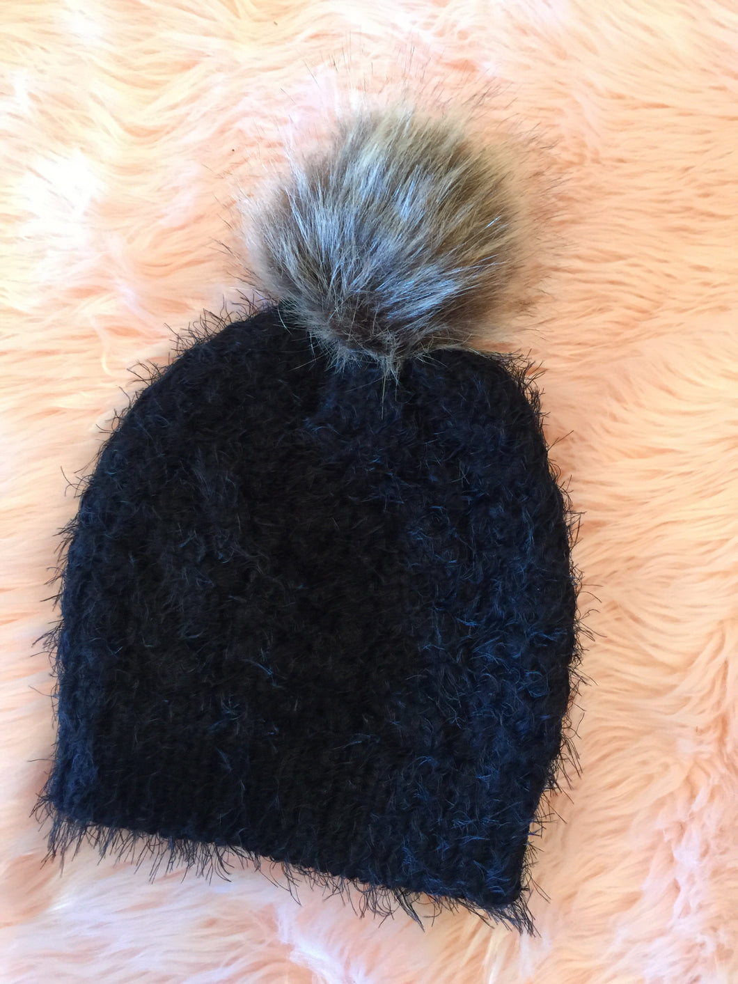 Black Mohair Hat with Pom