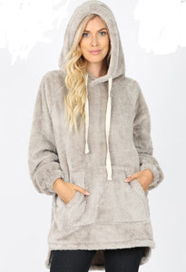 Let's Hang Out Faux Fur Pullover Hoodie