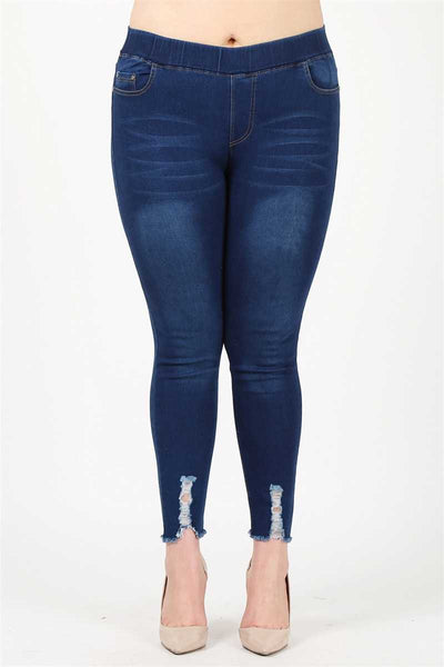 Distressed Jean Jeggings 4X/5X