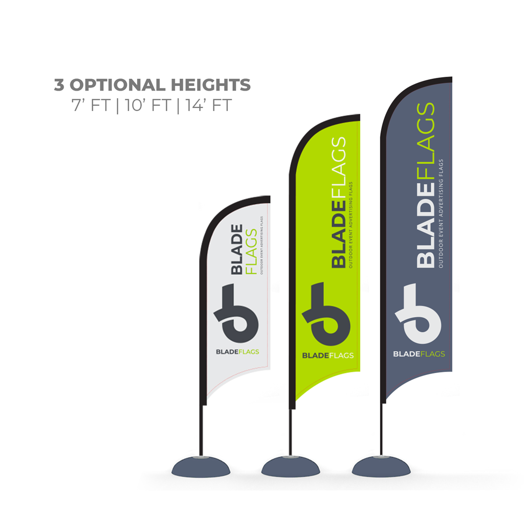 WaveLine Blade sizes for outdoor advertising and event flags