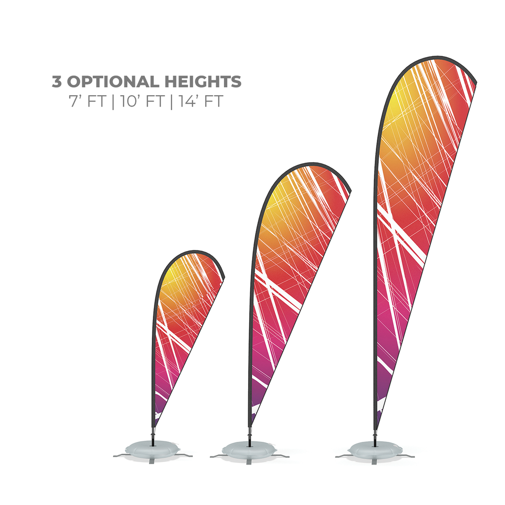 WaveLine Feather Flag sizes for outdoor advertising and event flags