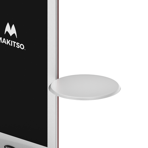 Makitso Blade Digital Signage Kiosk with circular shelf