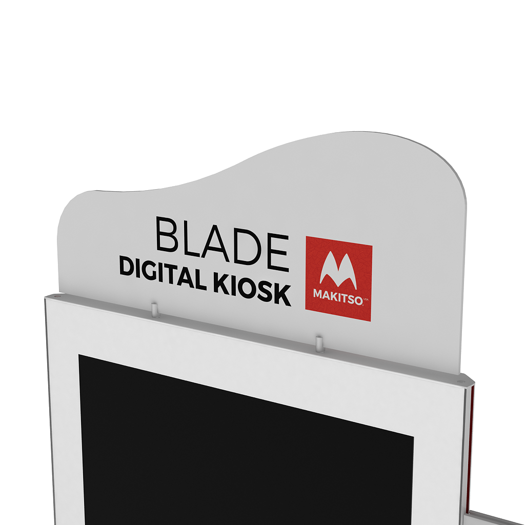 Makitso Blade Digital Signage Kiosk with header angled