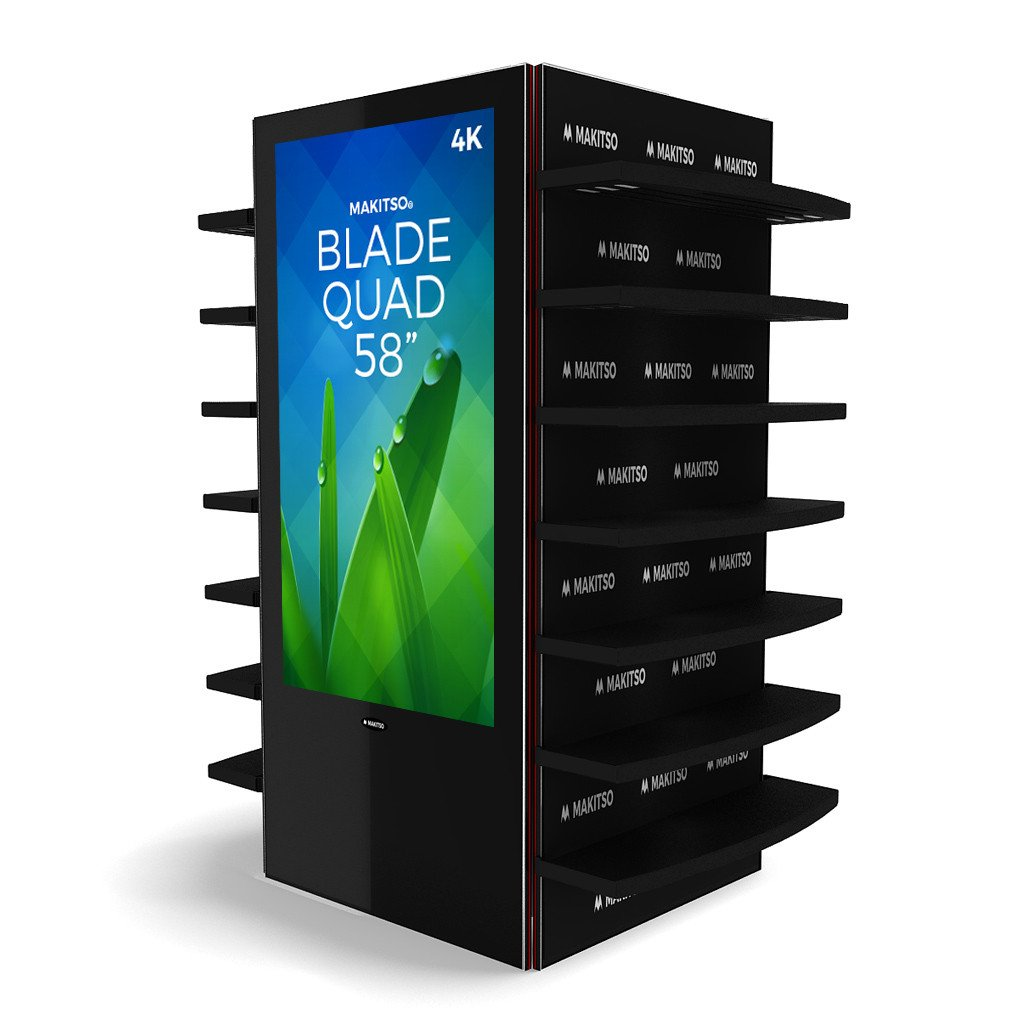 "Makitso Blade Quad 58"" Pro Digital Signage Kiosk black with shelving"