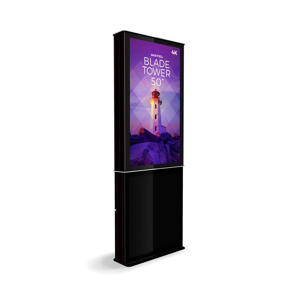 "Makitso Blade Tower 50"" Pro Digital Signage Kiosk in Black side view"