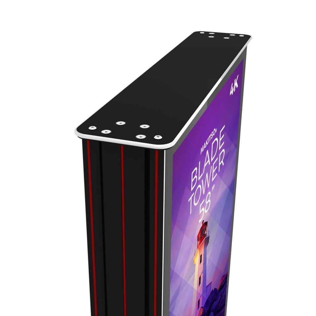 "Makitso Blade Tower 58"" Pro Digital Signage Kiosk angle view"